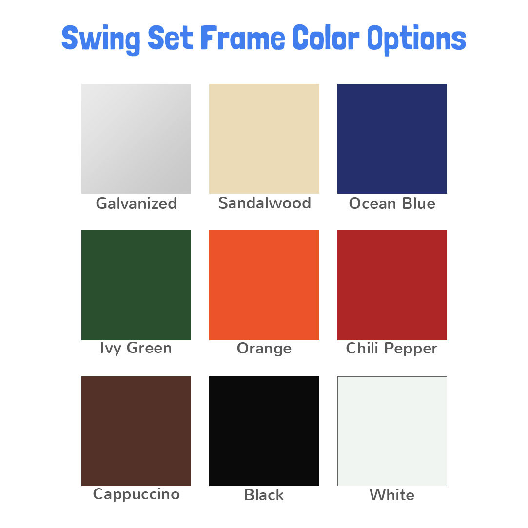 Metal Post Swing Set with 2 Swings  (CP-PS20) Set Colors