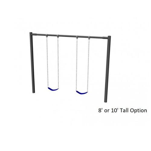 Metal Post Swing Set with 2 Swings (CP-PS20) Render Drawing