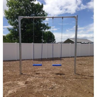 Metal Post Swing Set with 2 Swings (CP-PS20) Flat Swings