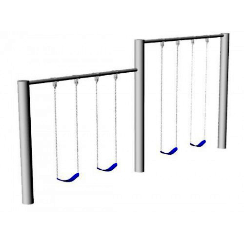 Metal Post Swing Set with Multi-Height Beams (CP-PS30) - Render
