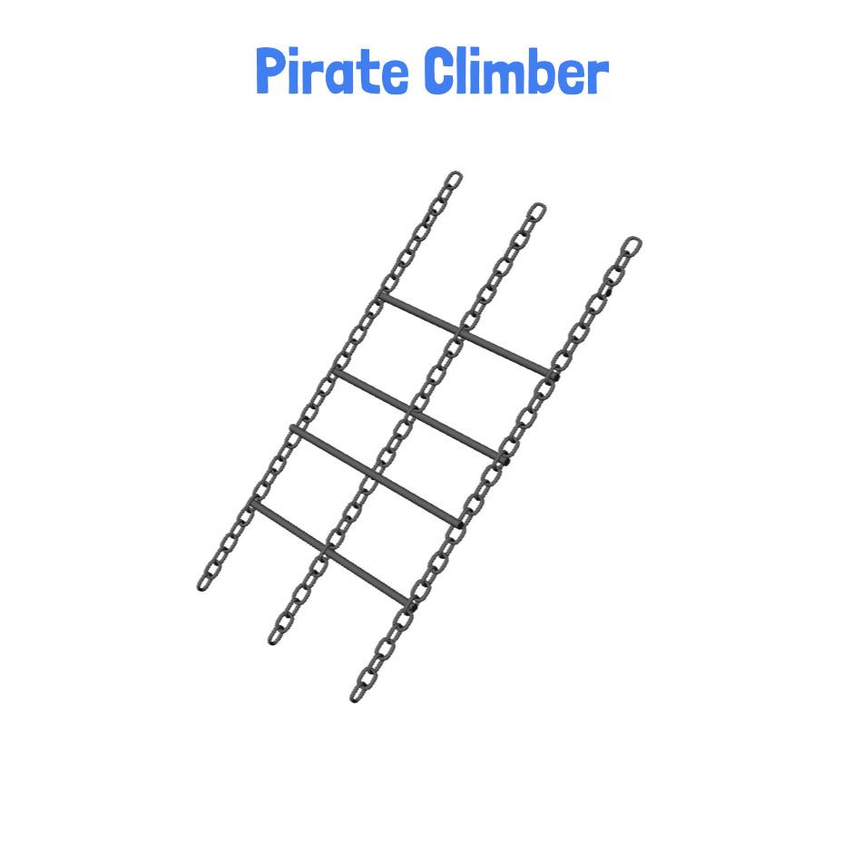 Pirate Climber -  Metal Playhouse Swing Set with Monkey Bars (4 Swings) (CP-PH45)