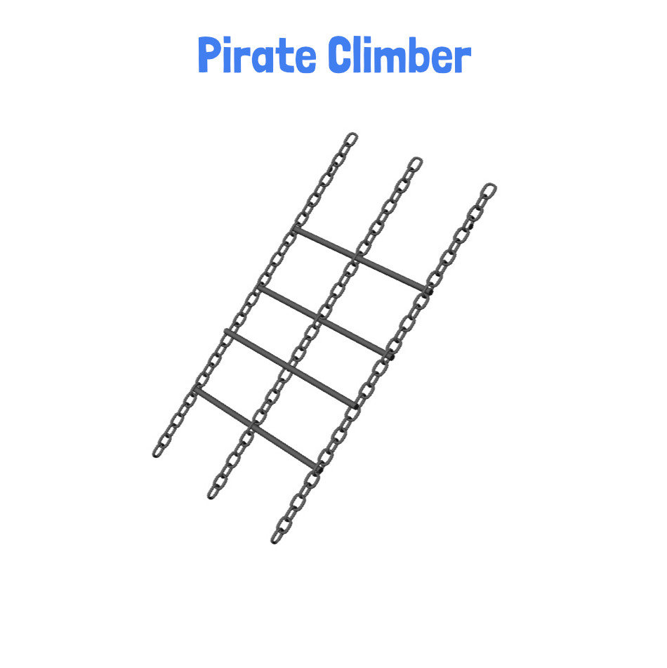Pirate Climber - Metal Clubhouse Swing Set with 2 Swings