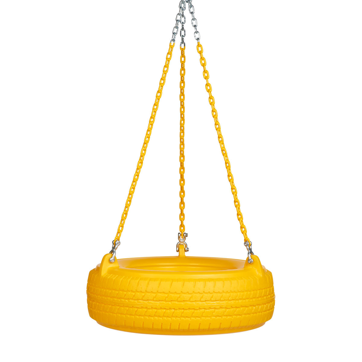 "Plastic Tire Swing with 5'6"" Plastisol Chain - Yellow/Yellow"