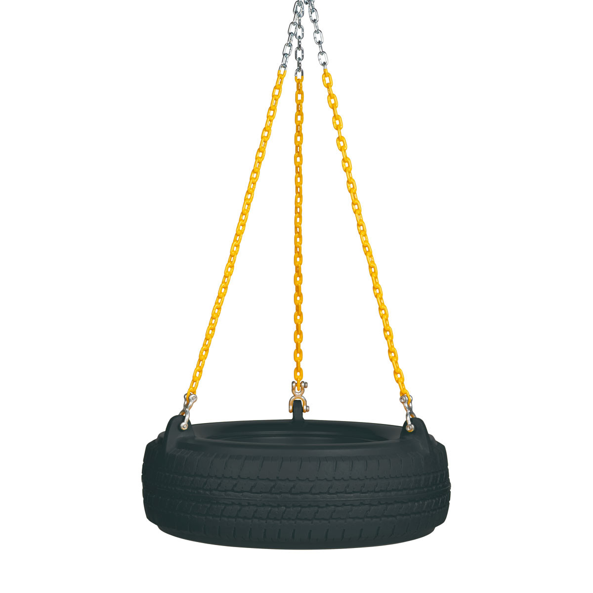 "Plastic Tire Swing with 5'6"" Plastisol Chain - Black/Yellow"