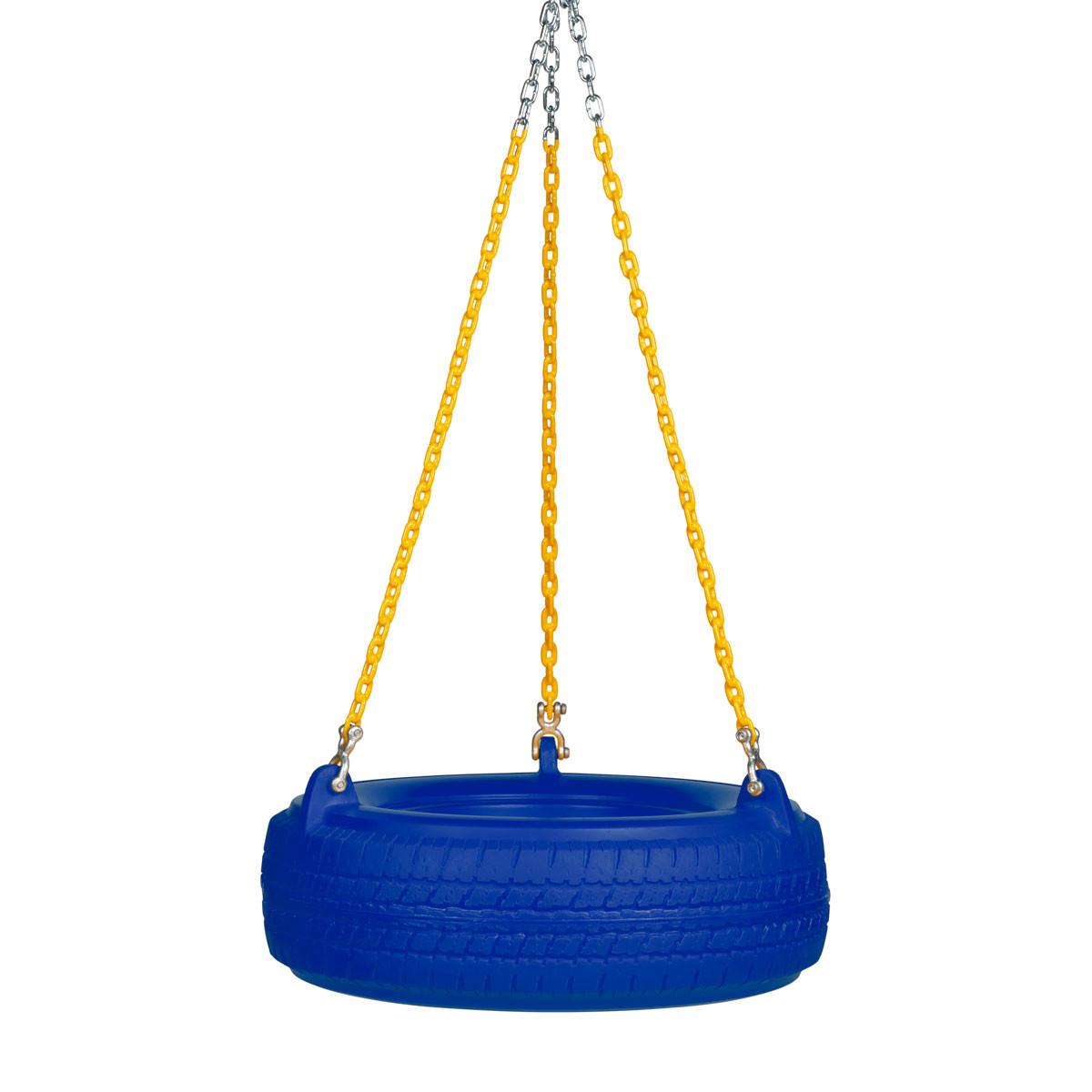 "Plastic Tire Swing with 5'6"" Plastisol Chain - Blue/Yellow"
