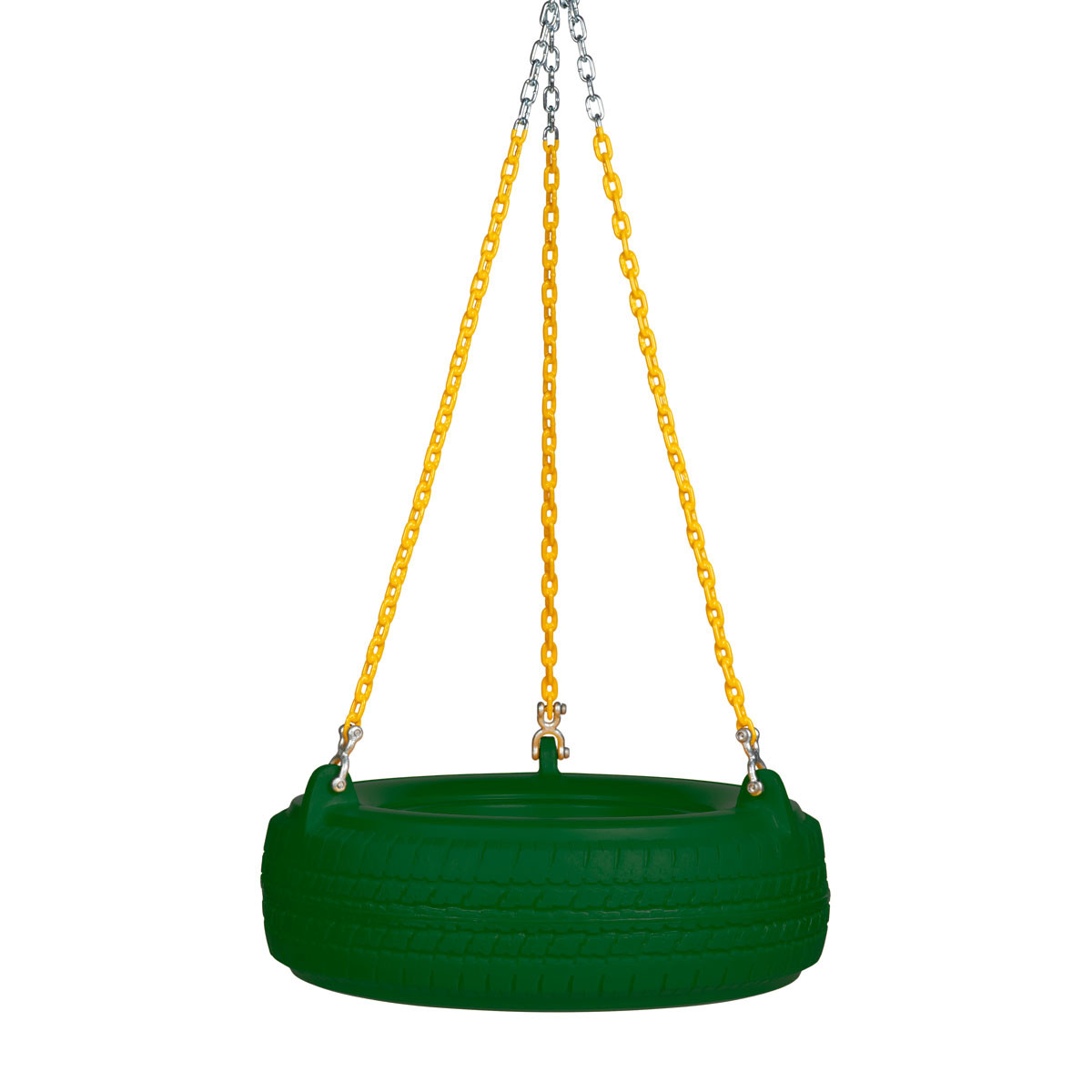 "Plastic Tire Swing with 5'6"" Plastisol Chain - Green/Yellow"
