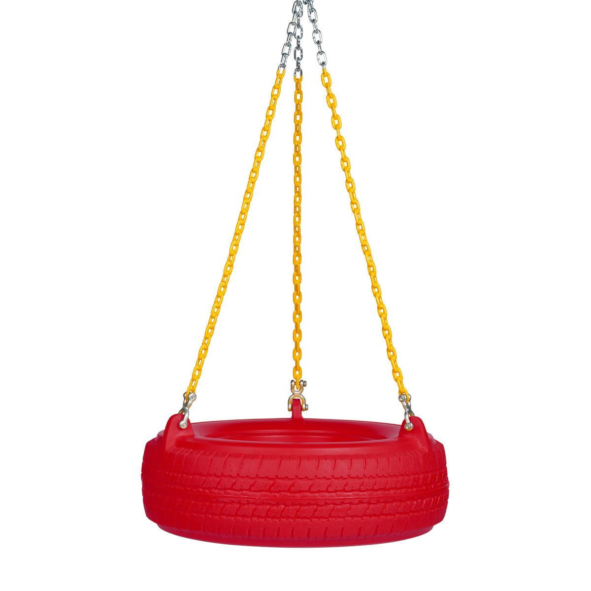 "Plastic Tire Swing with 5'6"" Plastisol Chain - Red/Yellow"