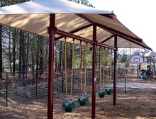Single Post Swing Set Frame with Shade (RSW23516G) - 2 Bay