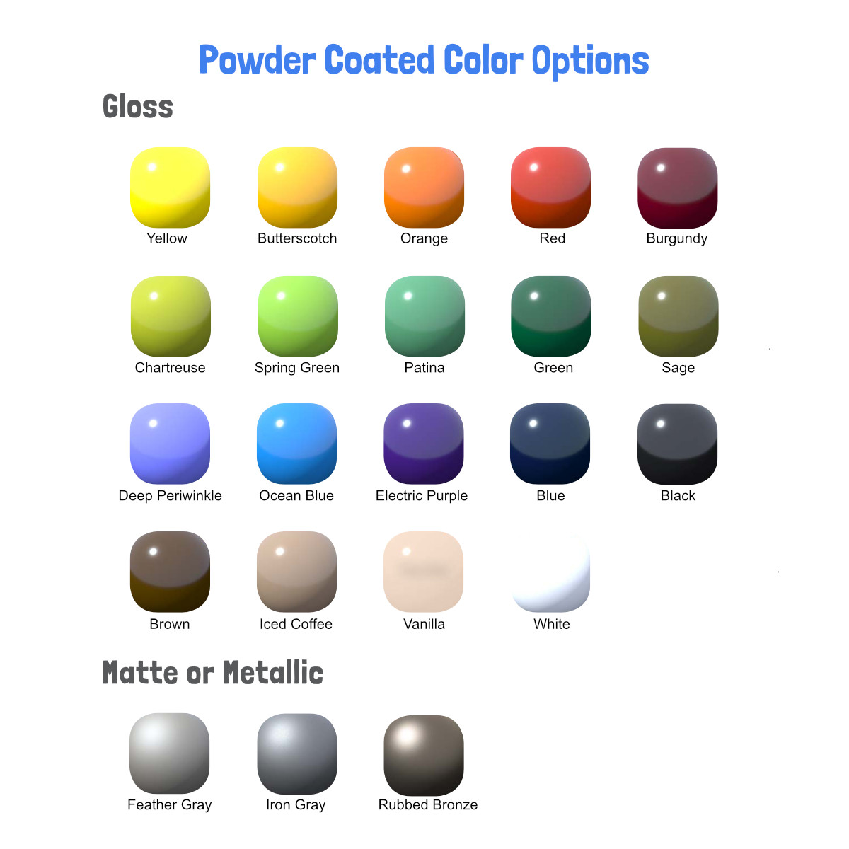 Metal Powder Coat Color Options