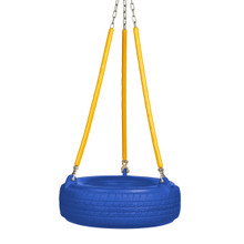 "Plastic Tire Swing with 5'6"" Soft Grip Chain (PT-10) - Blue/Yellow"
