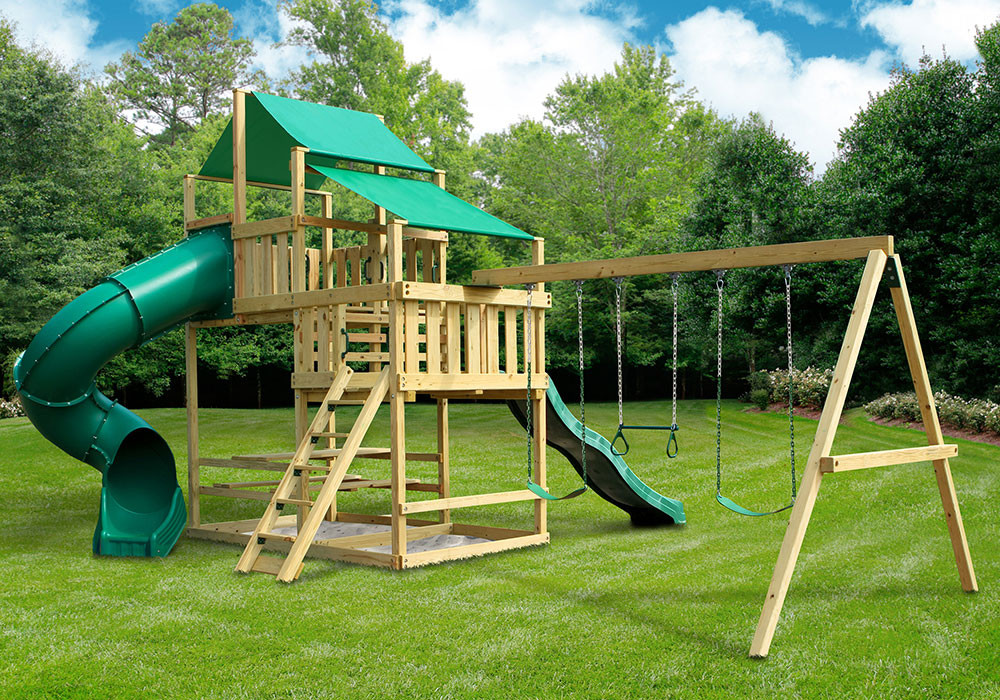 Frontier fort with swing set diy kit for Diy play structure