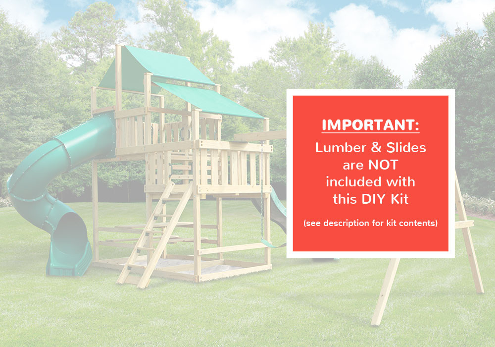 Frontier Fort with Swing Set - DIY Kit - Warning