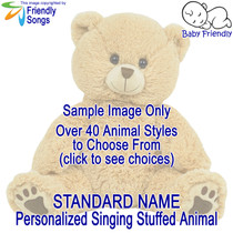 Standard Name Personalized Singing Stuffed Animal Choose from over 40 Styles of Stuffed Animals