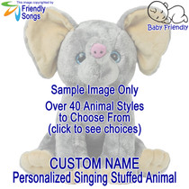 Custom Name Personalized Singing Stuffed Animal Choose from over 40 Styles of Stuffed Animals