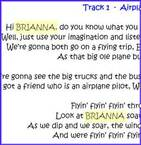 You can see here how the name is inserted into the text of the song.