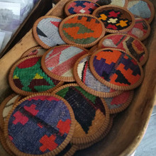Kilim Coasters, made from Vintage Wool Kilim rugs, braid and leather.