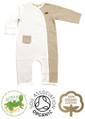 Toffee Stripe & White Unisex Kimono Baby Grow