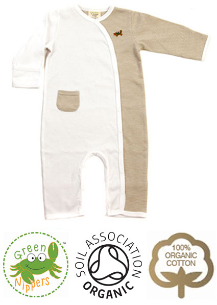 7e95ca009 Unisex Kimono Baby Grow | Toffee | Organic Clothes by Green Nippers