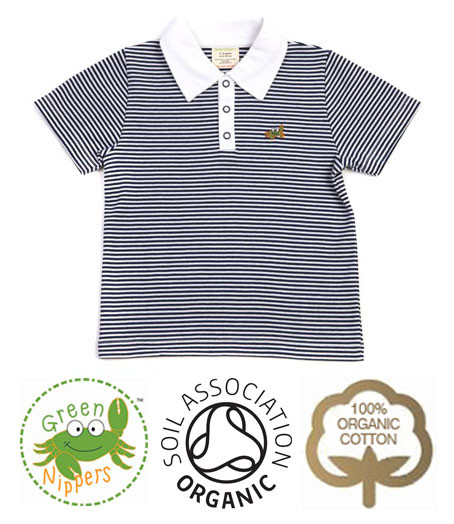 637612c6 Baby Boys Navy Stripe Polo Shirt | Organic Clothes by Green Nippers