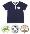 Boys Y Neck Navy T-shirt Short Sleeves