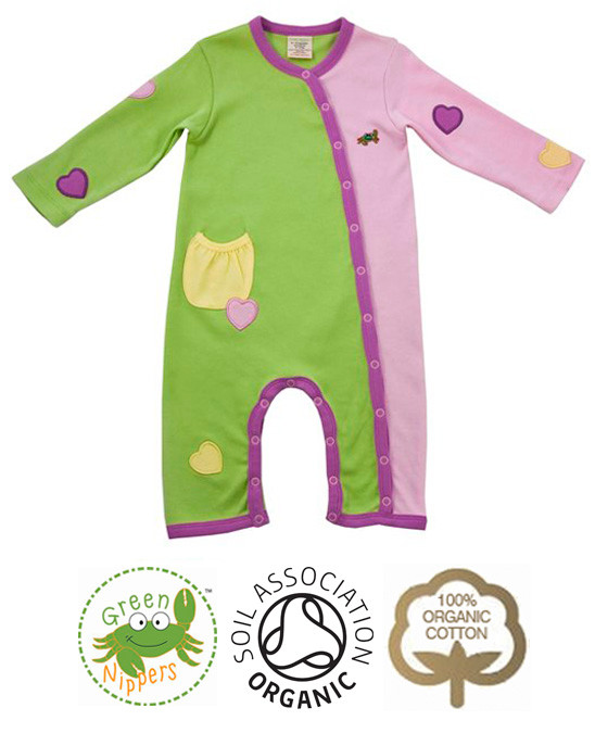 Applique Girls Baby Grow Organic Clothes By Green Nippers