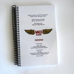 Generic WACO YMF Flight Manual, printed and bound.