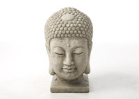 Large Stone Buddha Head Garden Ornament  from www.discountgardenstatues.co.uk