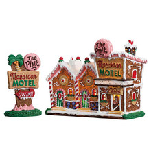 Lemax Village Collection The Pink Macaroon Motel, Set Of 2 #75180