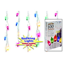 100LT Random Twinkling Icicle Light Set in Multi, White Wire