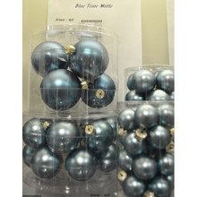 Solid Glass Ball Ornament in Blue Tease Matte, 6-Pack