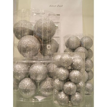 Solid Glass Ball Ornament in Silver Dust, 6-Pack