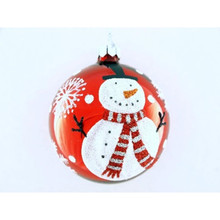 Glittering Snowman Glass Ball Ornament, 4-Pack