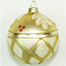 Beaded Leaf Glass Ball Ornament, 4-Pack