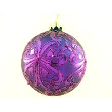 Purple Glitter Design Glass Ball Ornament, 4-Pack