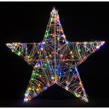 24in Metal Silver Wired Star with Multi LED Lights