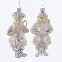 Kurt Adler 6in Glass Sugar Plum Chef Santa, 2 Assorted #T2067