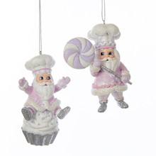 Kurt Adler 4in Sugar Plum Chef Santa Ornament, 2 Assorted #C7906