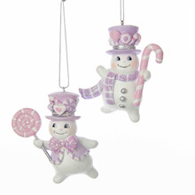 Kurt Adler 3in Sugar Plum Snowman Ornament, 2 Assorted #C7909