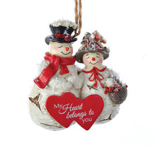 Kurt Adler Birch Berries Snowman Couple Ornament #D3066