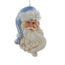 Kurt Adler Blue Santa Claus Face Ornament #T1636