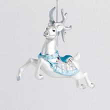 Kurt Adler Glass Blue & White Deer Ornament #TD1465