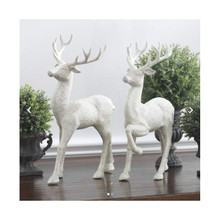 RAZ 12.5in Silver Glittered Deer, Set of 2 #3100812