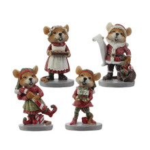 RAZ Holiday Mouse Figurine, Set of 4 #3609300