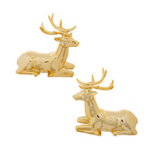 RAZ Polished Gold Deer Figurine, Set of 2 #3609353