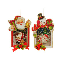 RAZ Santa & Snowman Shadowbox Ornament, 2 Assorted #3620035