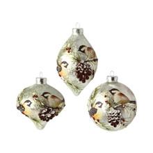 RAZ 4in Chickadee Glass Ornament, 3 Assorted #3624613