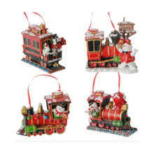 RAZ 4.5in Snowman with Train Ornament, 4 Assorted #3707021