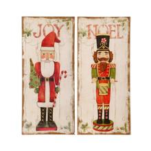 RAZ Burlap Joy & Noel Wall Decoration, 2 Assorted #3721357