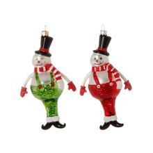 RAZ Glass Snowman in Overalls Ornament, 2 Assorted #3752905