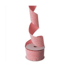 RAZ 10yd Glittered Candy Striped Ribbon #R3704243